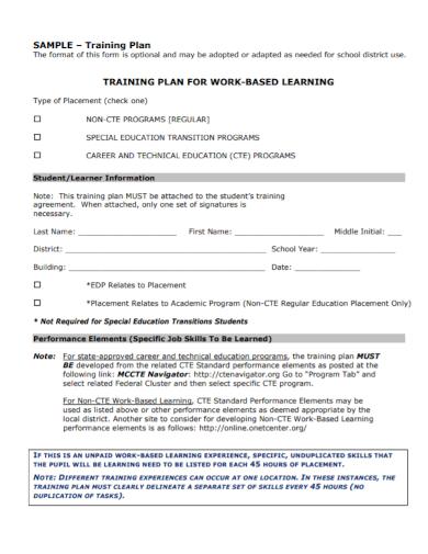 work based student training plan