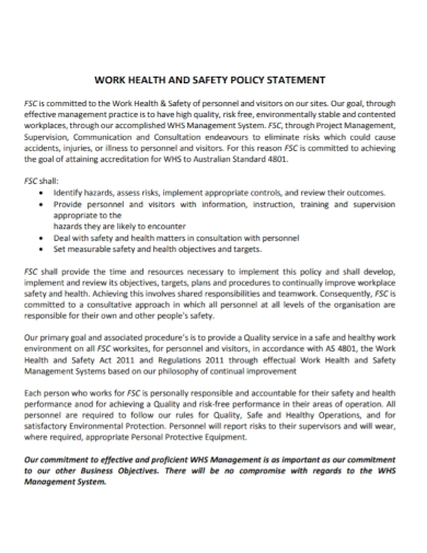 work health and safety policy statement
