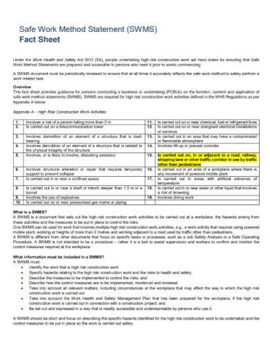 work method statement fact sheet