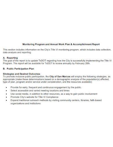 work plan and accomplishment report
