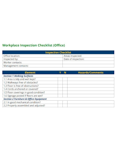 workplace office inspection checklist