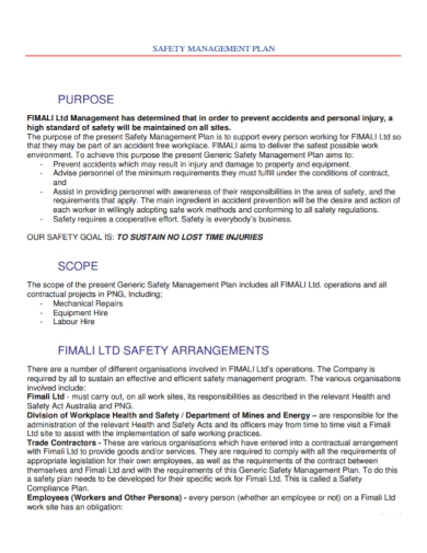 workplace safety management plan
