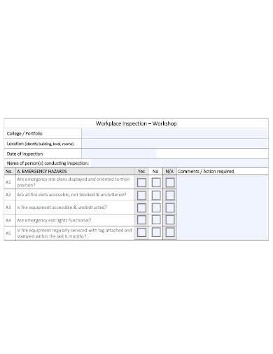 workplace workshop inspection checklist