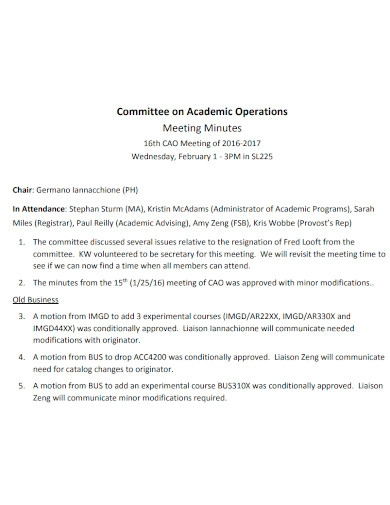 academic operations meeting minutes