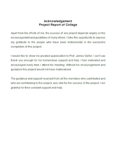 acknowledgment for college project report
