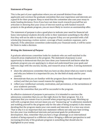 admission committee statement of purpose