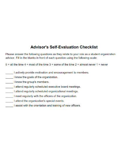 advisors self evaluation checklist