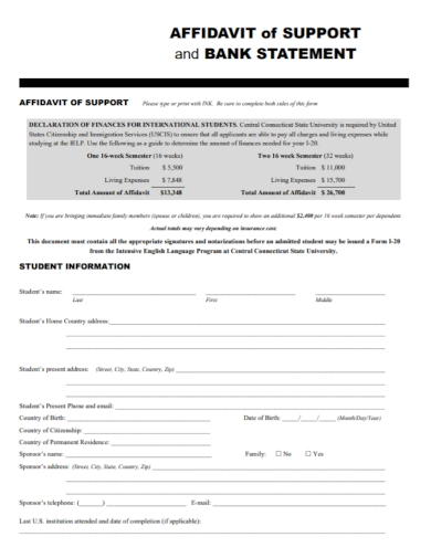 affidavit bank statement