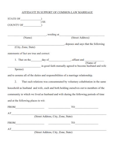 affidavit support of law marriage cohabitation