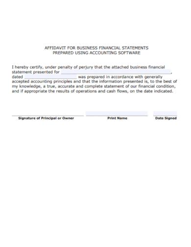affidavit for bussiness financial statement