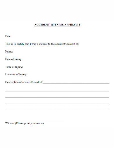affidavit of accidents witness