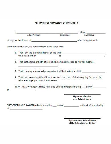 affidavit of admission of paternity