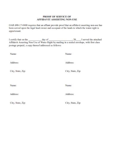 affidavit of asserting non use