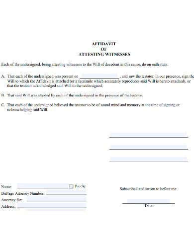 affidavit of attesting witness