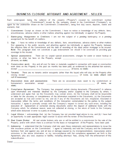 affidavit of business closure agreement