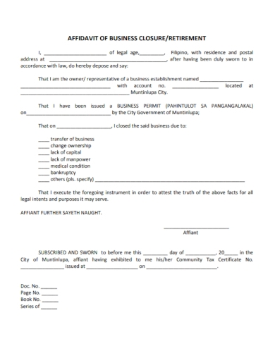 affidavit of business closure retirement