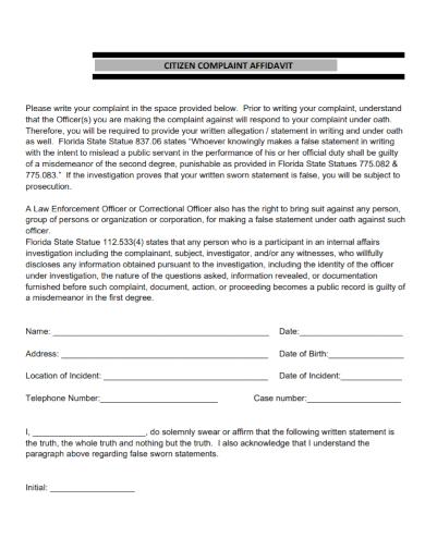 affidavit of citizen complaint