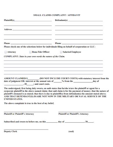affidavit of claims complaint