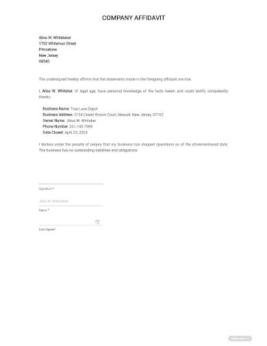 affidavit of closure of business template