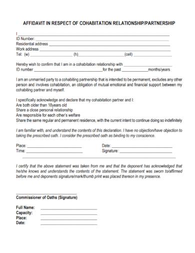 affidavit of cohabitation relationship
