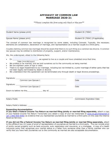 affidavit of common law marriage cohabitation