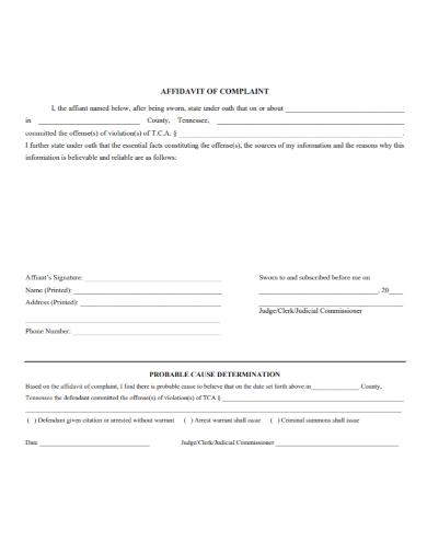 affidavit of criminal complaint