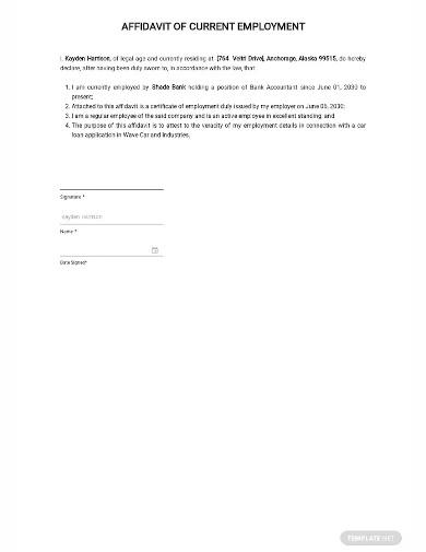affidavit of current employment