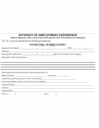 affidavit of employment expereince