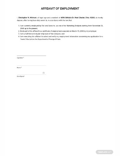 affidavit of employment sample