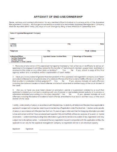 affidavit of end use ownership