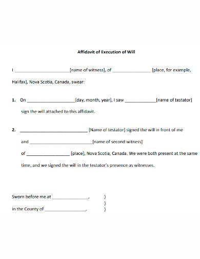 affidavit of execution of will