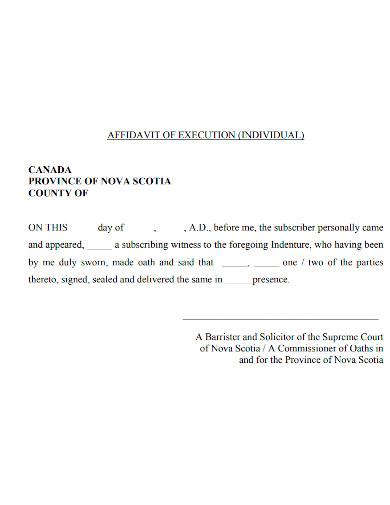 affidavit of individual execution