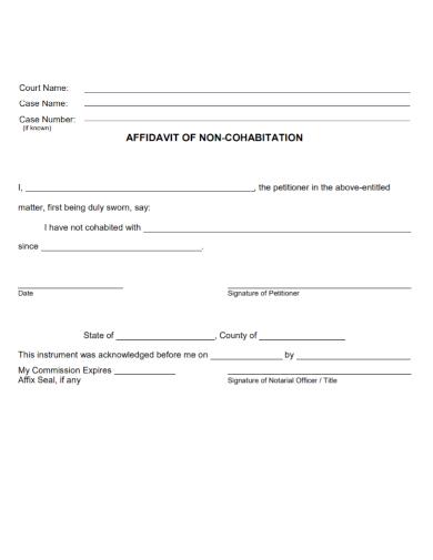 affidavit of non cohabitation