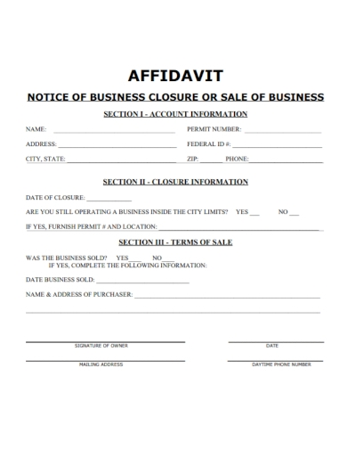 affidavit of notice of business closure