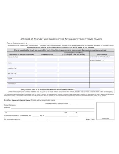 affidavit of ownership for automobile