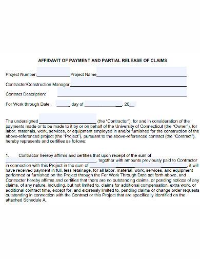 affidavit of payment sample