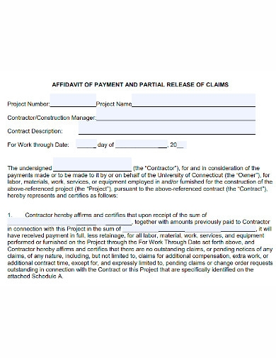 affidavit of payment and release of claims