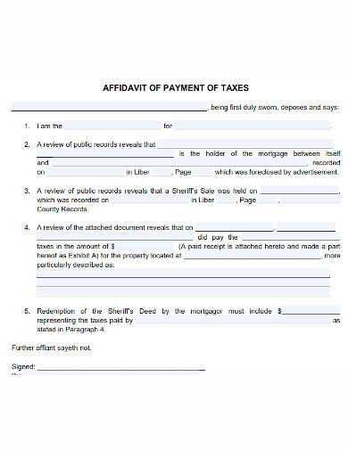 affidavit of payment of taxes