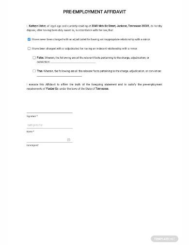 affidavit of pre employment