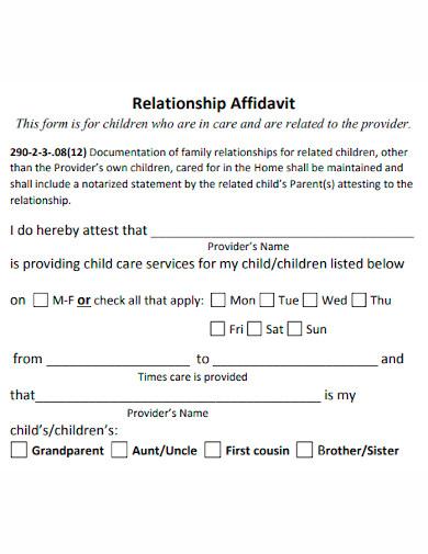 affidavit of relationship format