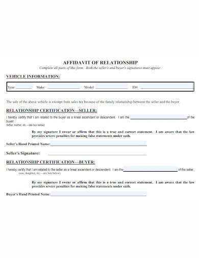affidavit of relationship sample