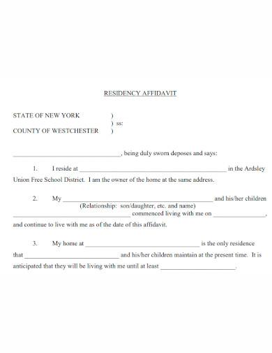 affidavit of residence format