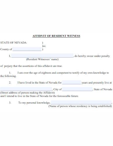 affidavit of resident witness