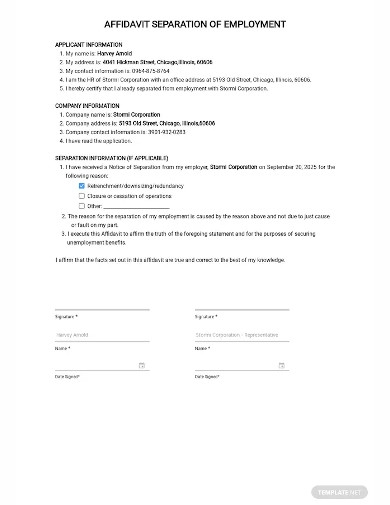 affidavit of seperation of employment