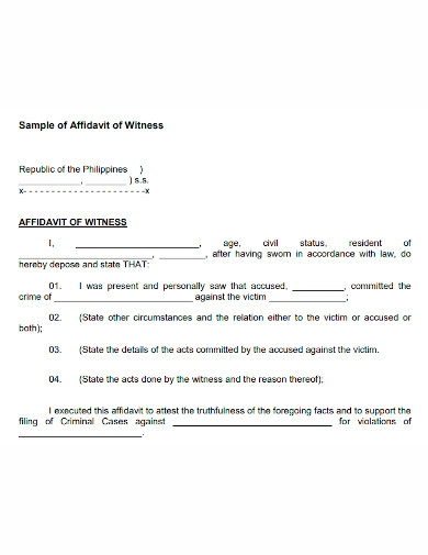 affidavit of witness sample