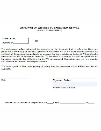affidavit of witness to execution