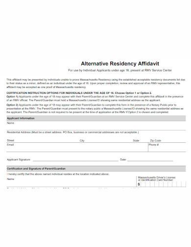 alternative affidavit of residence