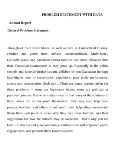 annual report data problem statement