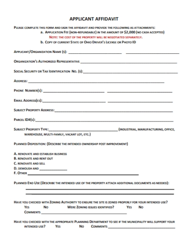 applicant affidavit of ownership end use