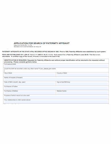 application of paternity affidavit